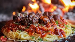 BEST SPAGHETTI AND MEATBALLS! - Ultimate Cooking Outside!