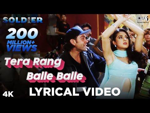 Tera Rang Balle Balle Lyrical - Soldier   Bobby Deol & Preity Zinta   Jaspinder Narula & Sonu Nigam