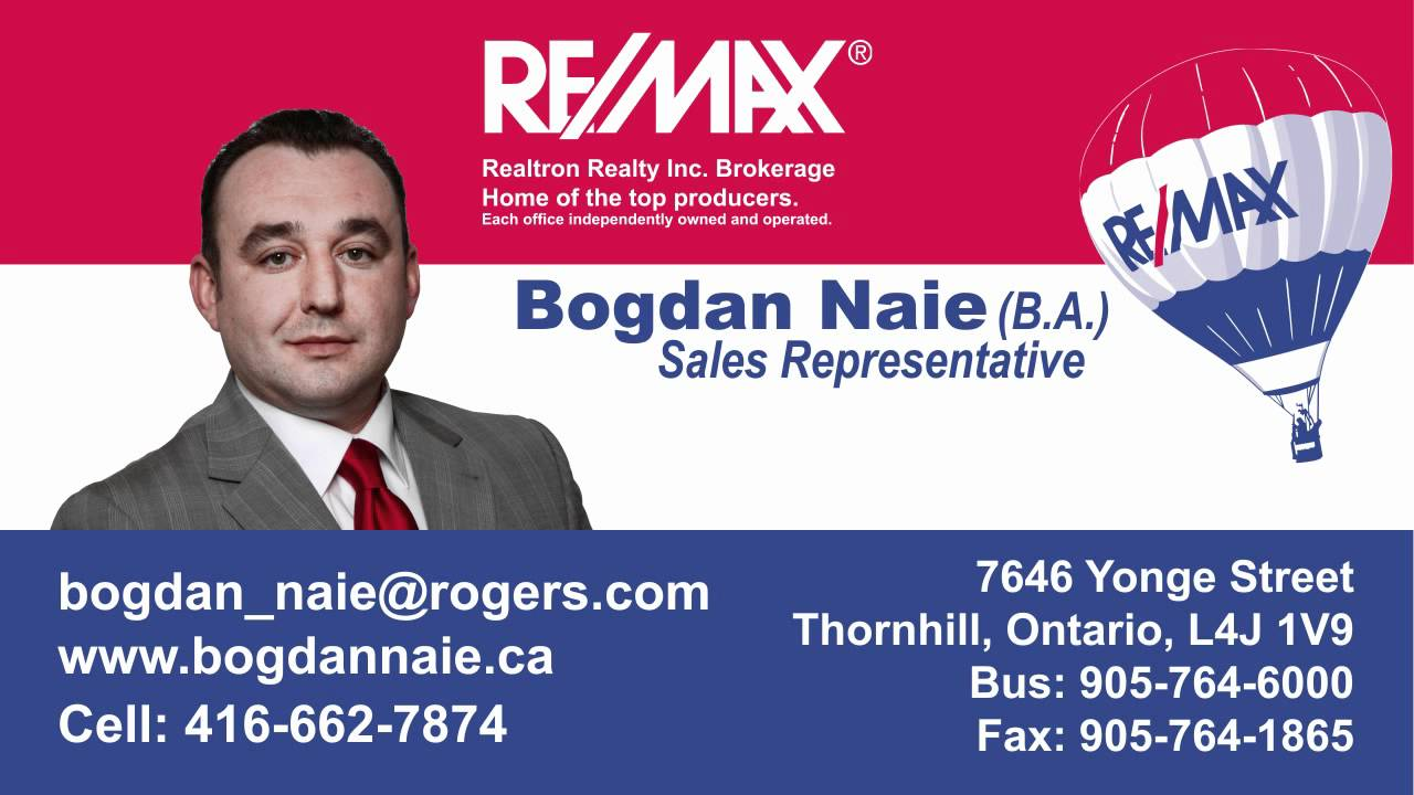 Bogdan naie sales representative with remax realtron video bogdan naie sales representative with remax realtron video business card youtube magicingreecefo Choice Image