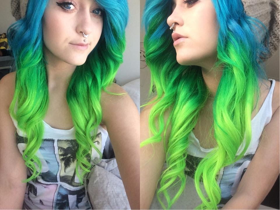 dyed hair blue and green