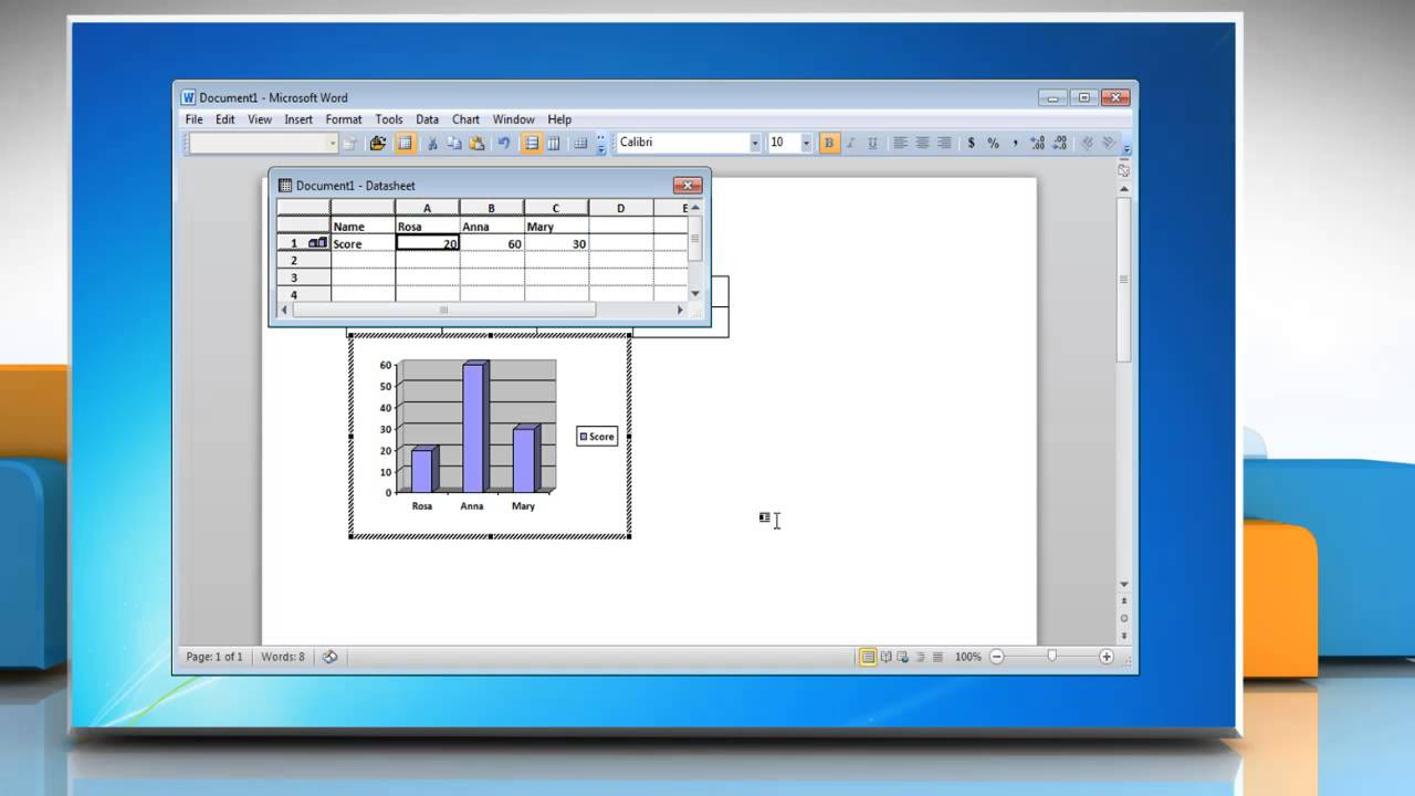 How to make a pie chart from a Table in Word 2010 - YouTube