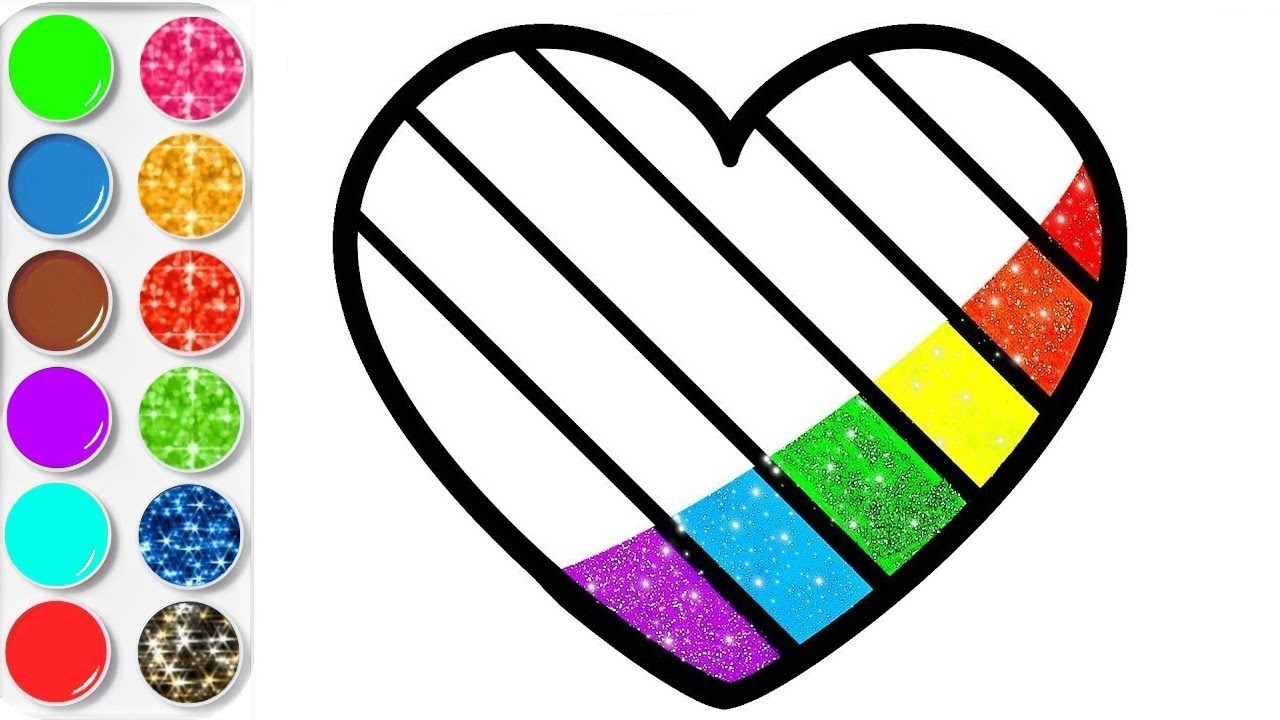 Coloriage Coeur Et Chat.Coloriage Coeur Brillant Apprendre Les Couleurs Planete Coloriage