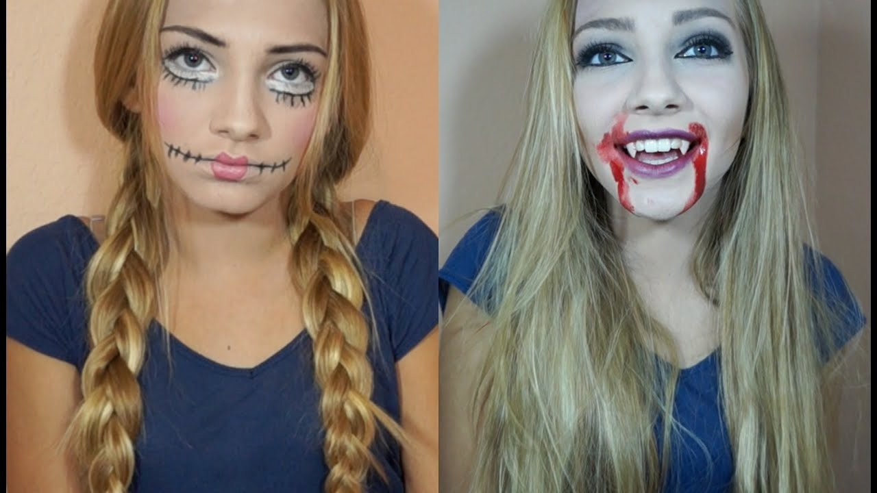 Halloween Costume Ideas: Creepy Doll & Vampire Makeup and Hair ...