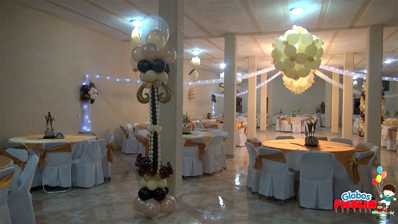 Idea para decoracion de xv a os color oro con caf 22 for Decoracion con globos 50 anos