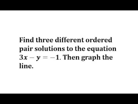 Determine Ordered Pair Solution and then Graph a Linear Equation: Ax-y=C thumbnail