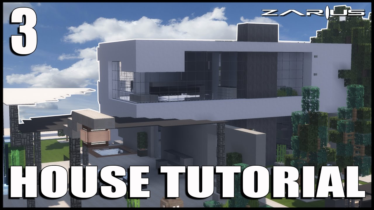 Minecraft Lets Build an Easy Modern House tutorial Part 3