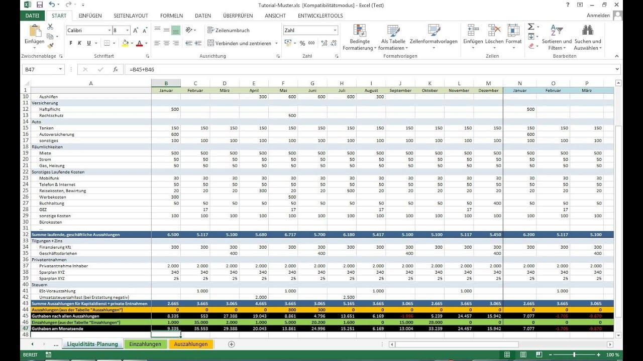 tutorial excel vorlage liquidittsplanung einfhrung - Liquiditatsplanung Beispiel