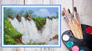 Видео урок Рисуем гуашью Водопад #Dari Art(В этом видео уроке, предлагаю создать Бушующий водопад! Для работы нам потребуется: гуашь (12 цветов, я испол..., 2015-02-05T08:56:38.000Z)