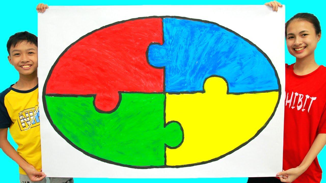 Menggambar dan Mewarnai Puzzle Bentuk Elips untuk Anak-Anak