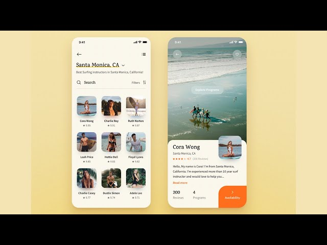 FlutterUI - Novel Designs - Surfing Instructor App