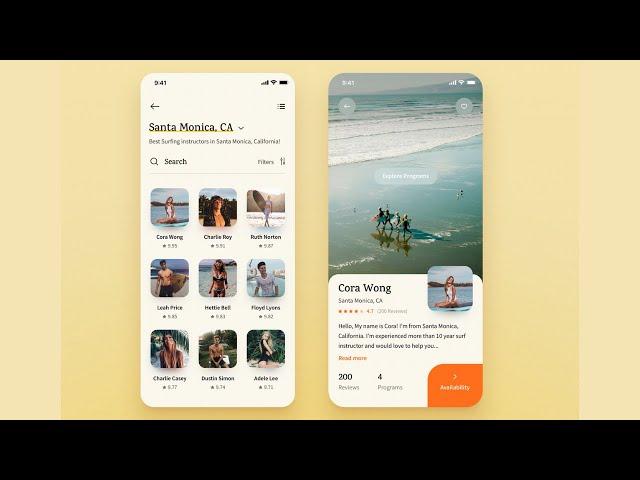FlutterUI - Novel Designs - Surfing Instructor App