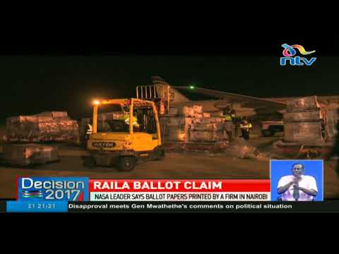 Nasa leader Raila Odinga claims ballot papers were printed in Kenya
