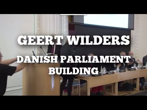 Geert Wilders speaks in the Danish Parliament building