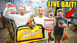 Gas Station LIVE BAIT Fishing CHALLENGE For Biggest Fish!