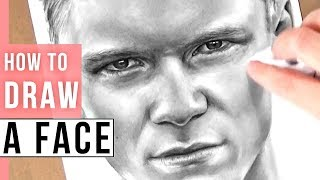 How to Draw a Realistic Face | Man Face Drawing Tutorial in Pencil