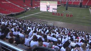 Super Bowl LIII Volunteer team attend kickoff rally at Mercedes-Benz Stadium