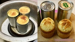 Cake in Food Tins/Cans - Tea Cake Without Oven & Pan