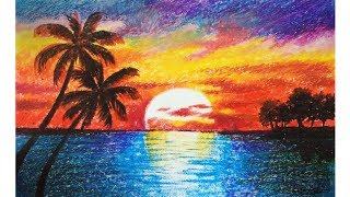Landscape drawing for beginners with oil pastels - Scenery drawing - Oil pastel drawing