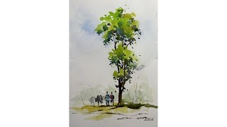 tree with watercolors for beginners by Sikander singh Chandigarh India