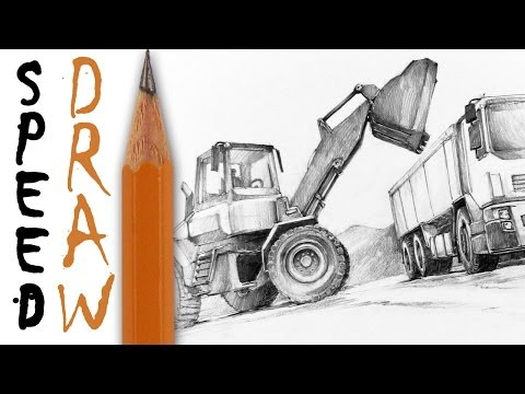 How to draw machines (zoom and details) - Speed Drawing 14