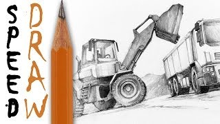 "How to draw machines (zoom and details) - Speed Drawing 14 ""Construction vehicles"" - Michał Orłowski"