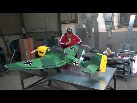 GIANT JU87- B2 STUKA 2.3m With Turnigy 55cc Petrol Engine First Look