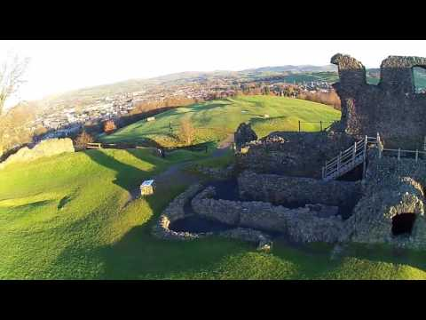 Drone flight over Kendal Castle in England Nov 2016