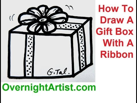 How To Draw A Gift Box With A Ribbon Draw Christmas Present Box