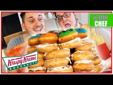 $100 Krispy Kreme Doughnut CAKE!! (18,000 Calories)