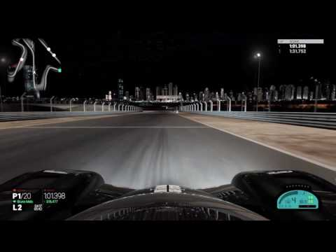 Project Cars: Dubai Autodrome at night.