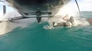 Dangerous America&#39;s Cup: Man Overboard at 30 Knots ! Oracle Team<