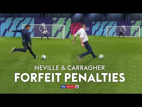 Neville & Carragher play FORFEIT Penalties (loser wears rival club\'s shirt) 😅