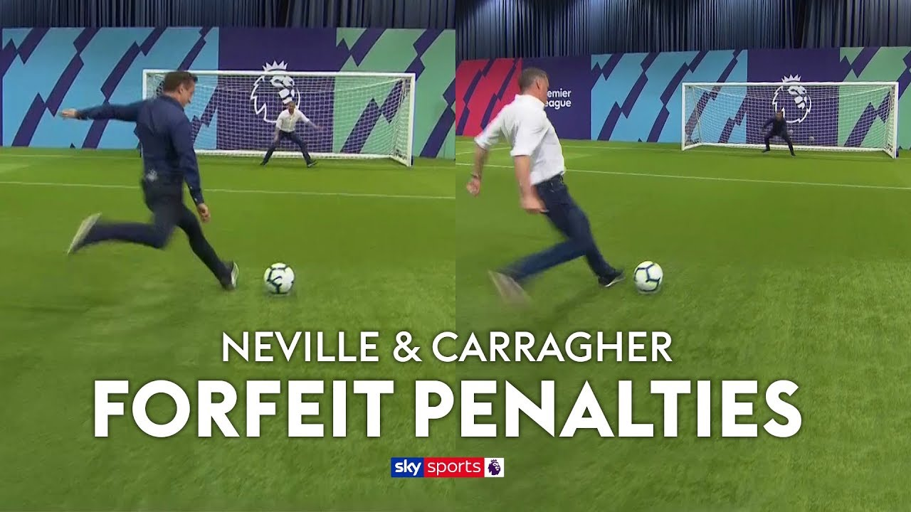 Neville & Carragher play FORFEIT Penalties (loser wears rival club's shirt) ????