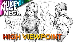 How To Draw HIGH ANGLE PERSPECTIVE FORESHORTENING FEMALE ANIME MANGA