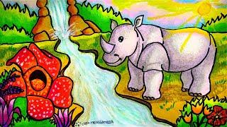Cara Menggambar Dan Mewarnai Tema Flora Dan Fauna Langka Dan Alam Benda Yang Bagus Mudah Ep 202 Youtube