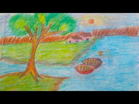 How to draw landscape step by step for beginners and kids  | Easy village landscape using crayons