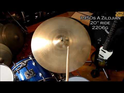 "clean vintage 1950s A Zildjian 20"" crashable ride cymbal 2206g"