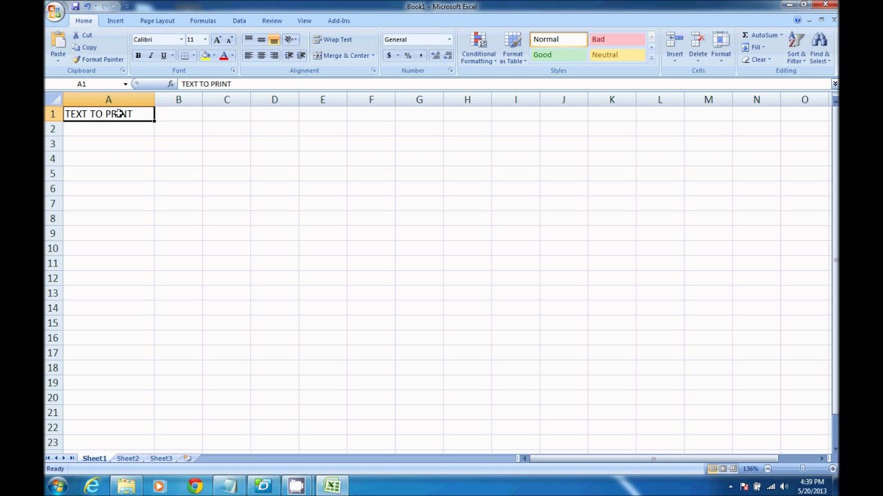 how to take printout in excel