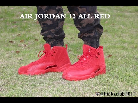 official photos 80f99 e2301 Air Jordan 12 ALL RED ON FEET