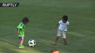 Football cuteness: Brazil stars' kids play football & with Matryoshkas