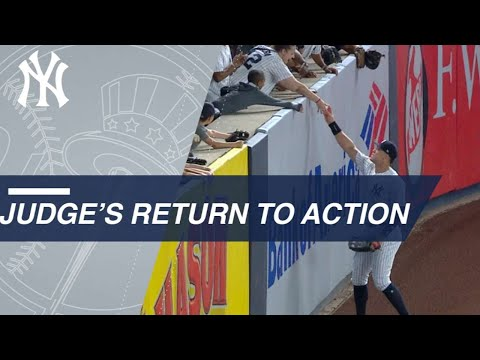 Aaron Judge returns to ovation, makes kid's day with souvenir