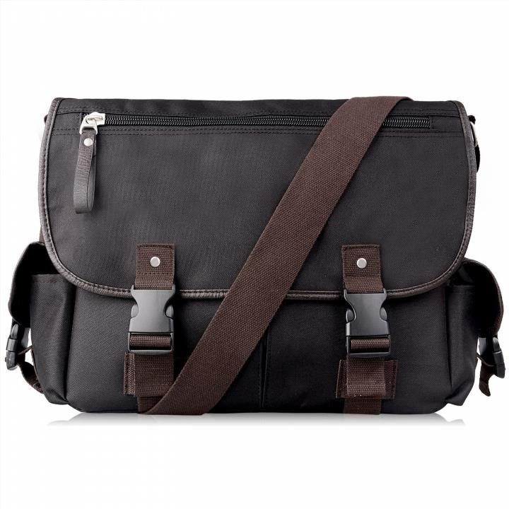 Canvas Laptop Messenger Bag Crossbody School Business Briefcase Brown 16 Inches