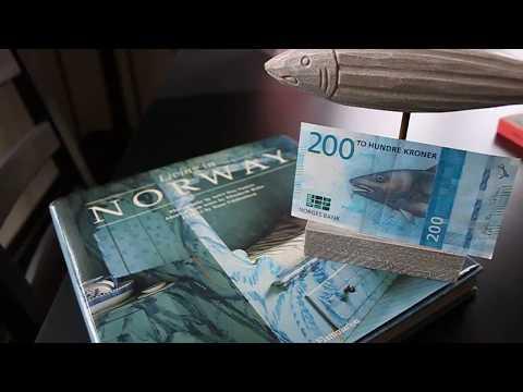 New 200 Norwegian Kroner Banknote. Fishing. Beautiful.