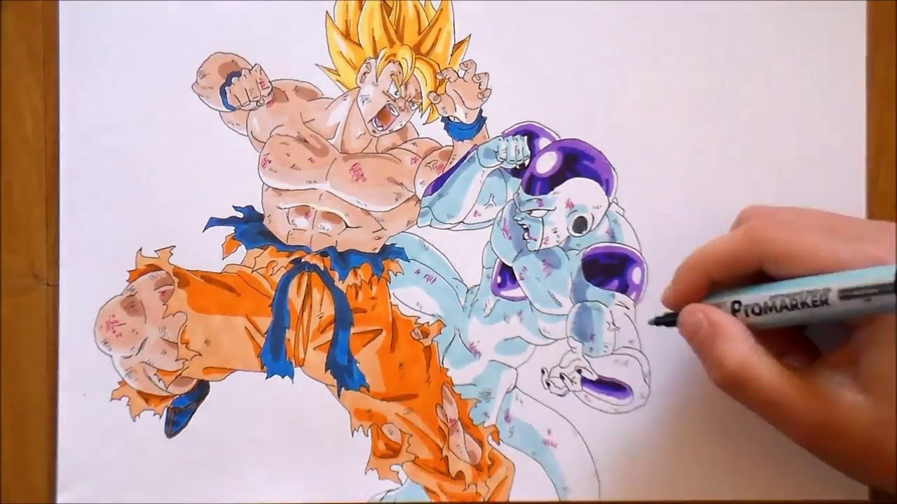 SPEED DRAWING Goku vs Freezer 【Dragon Ball Z】 - YouTube