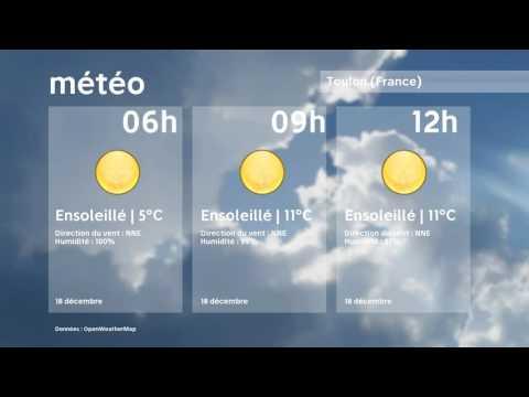Météo Toulon   dimanche 18 décembre 2016