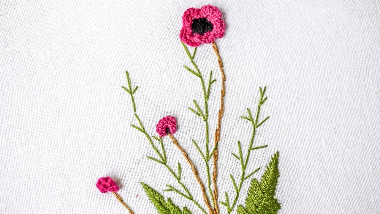 Brazilian Embroidery   Stitching Flower Design by Hand   HandiWorks #98
