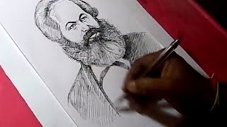 How to Draw karl Marx Drawing