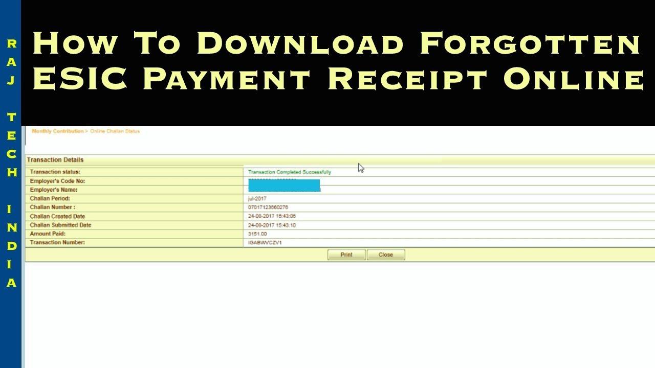 esic challan receipt print esic paid challan download youtube