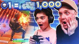 1 Kill = 1000 V BUCKS with MY 11 Year Old NEPHEW! Fortnite: Battle Royale