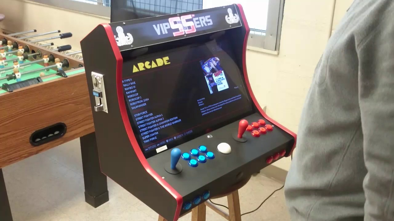 Bartop Arcade With Coin Acceptor And Trackball On A